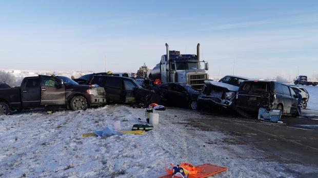 20-vehicle crash near Grande Prairie, Report