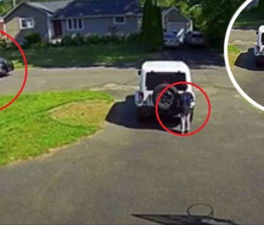 Dad shares video of 10-year-old hiding from police car (Video)