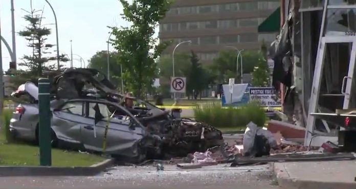 Three people killed after vehicle crashes into south Edmonton Starbucks