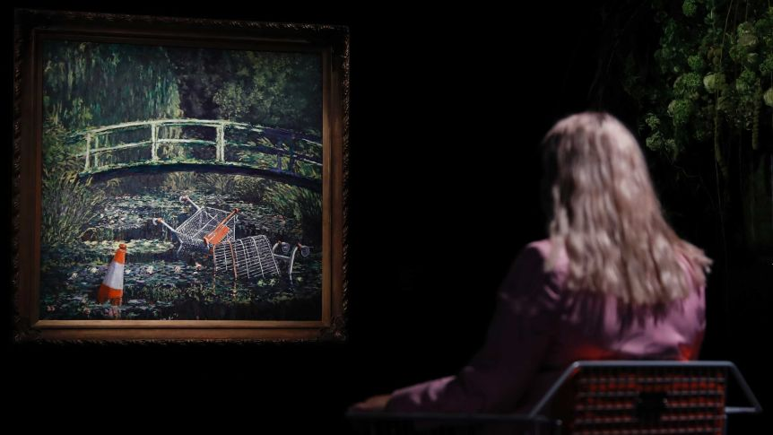 Banksy's take on Monet's garden scene fetches £7.5m at auction Report