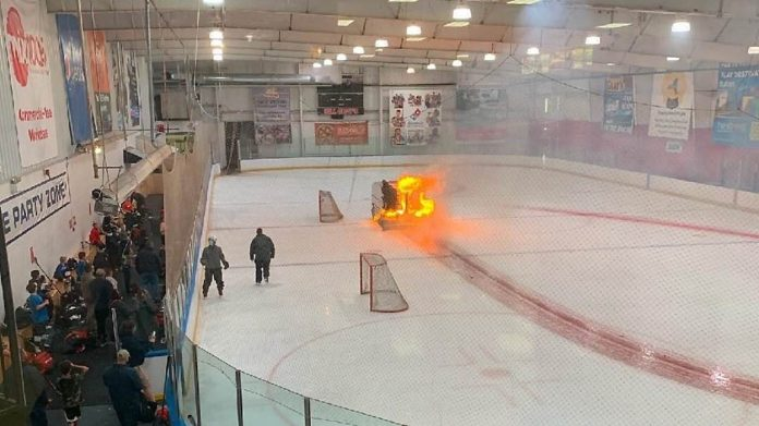 Ice resurfacer catches fire at ice rink in New York (Watch)