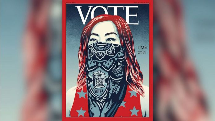 Time replaces logo on magazine cover with 'Vote' (Photo)