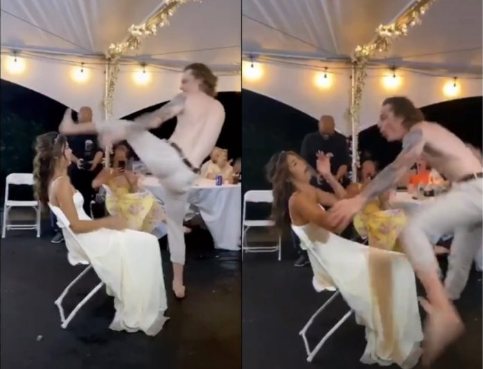 Watch: Adam Gaudette kicked his wife in the head at their wedding