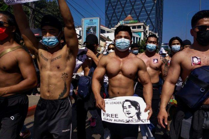 Macho macho man: Myanmar's shirtless gym junkies join anti-coup rally, Report
