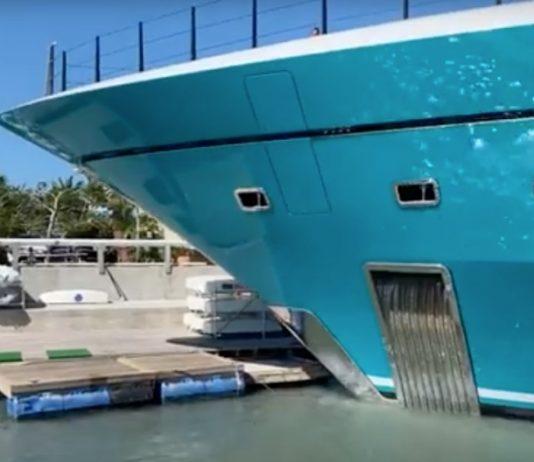 $118 million superyacht crashes into Caribbean pier (Video)