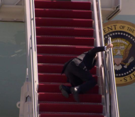 Biden Falls Three Times Getting on Air Force One (Watch)