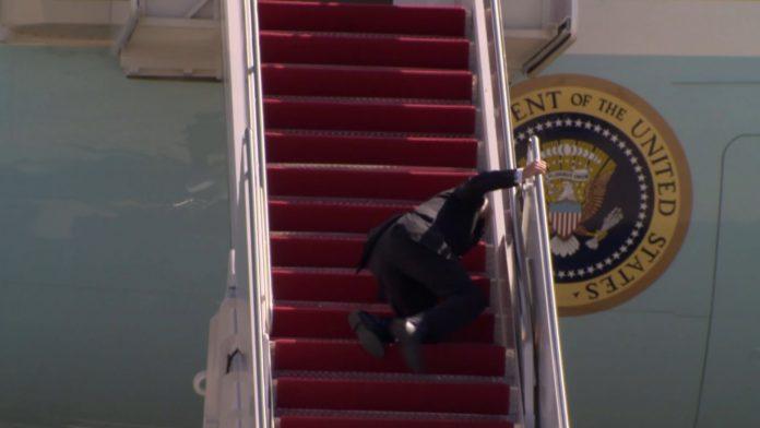 Biden Falls Three Times Getting on Air Force One (Watch)