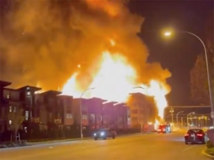 Large fire at condo development in Langley (Video)