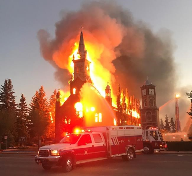 Fire destroys Catholic church north of Edmonton, town cancels Canada Day festivities, Report