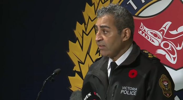 Five arrested after police chief Del Manak assaulted at memorial event in Victoria