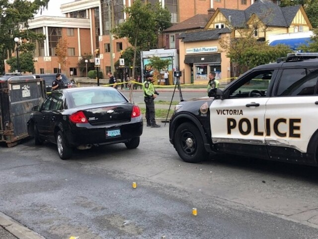 Victoria police officer hospitalized after being hit by vehicle, driver arrested